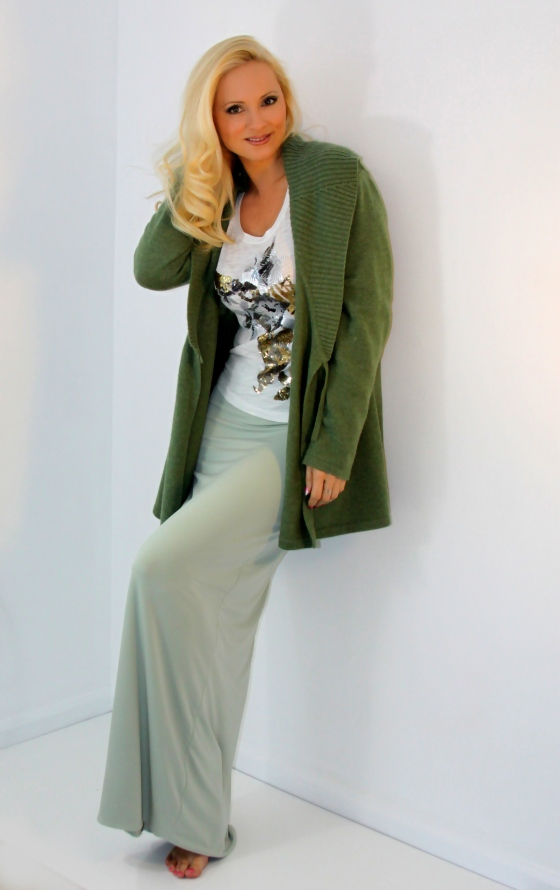 Sage green long skirt jackies boutique