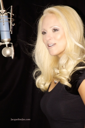 Jacqueline jax Recording Skyfall in the studio